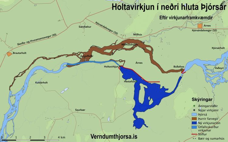 Holtavirkjun - Kort: verndumthjorsa.is