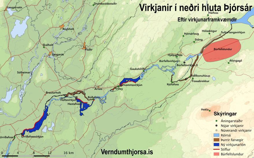 Fyrirhugaðar virkjanir í neðri hluta Þjórsár – Kort: verndumthjorsa.is
