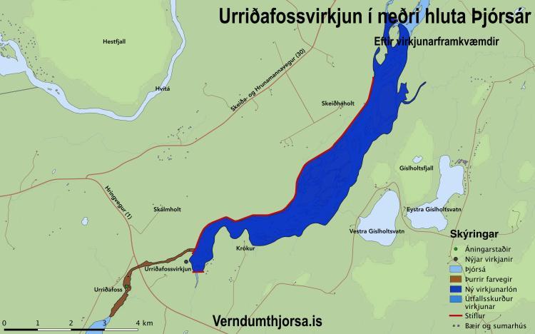 Fyrirhuguð Urriðafossvirkjun – Kort: verndumthjorsa.is