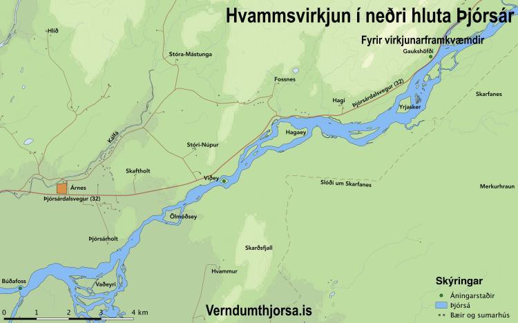 Fyrir virkjun - Kort: verndumthjorsa.is