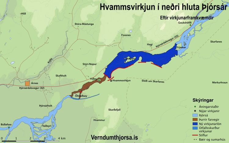Eftir virkjun - Kort: verndumthjorsa.is