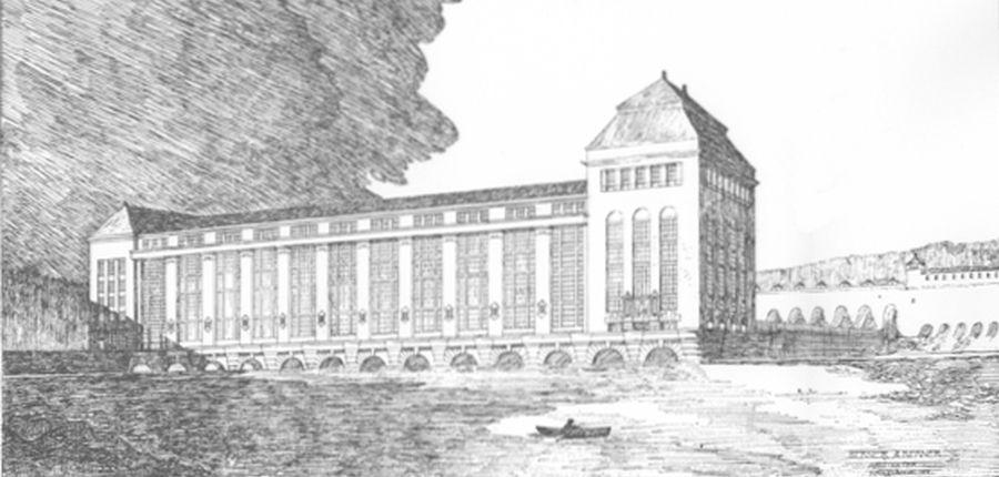 Urriðafossvirkjun - Mynd: G. Sætersmoen, Vandkraften i Thjorsá elv, Island 1918