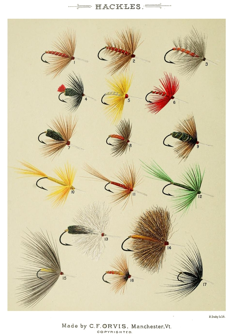1. Red Hackle – 2. Soldier Palmer – 3. Ashy – 4. Zulu – 5. Yellow Hackle – 6. Scarlet Hackle – 7. Brown Hackle – 8. Grouse Hackle – 9. Coch-y-Bonddu Hackle – 10. Yellow Hackle – 11. Brown Pennell Hackle – 12. Green Pennell – 13. Deer-hair Hackle – 14. Deer-hair Hackle – 15. Crane-fly – 16. Epting Hackle – 17. Black Spider