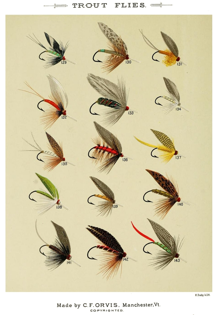 129. Ethel May – 130. Esmeralda – 131. Egg – 132. Fin Fly – 133. Francis Fly – 134. Fern – 135. Green Drake – 136. Furnace – 137. Gosling – 138. Golden-eyed Gauze Wing – 139. Golden Spinner – 140. Greenwell's Glory – 141. Great Dun – 142. Grayling Fly – 143. Grissly King