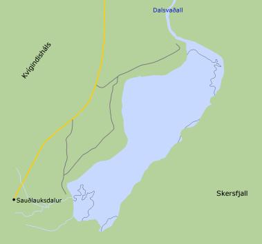 Sauðlauksdalsvatn - Smelltu fyrir stærra kort